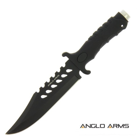 "10.5"" Knife with Black Rubber Handle and All Black Blade (741)"