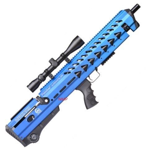 KRAL PUNCHER BREAKER ARMOUR PCP PRE-CHARGED AIR RIFLE .22 calibre 12 shot and free hard case OCEAN BLUE