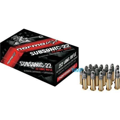 Norma USA Subsonic .22LR, 50 Rounds, Hollow Point, Rimfire Ammunition 40 Grains