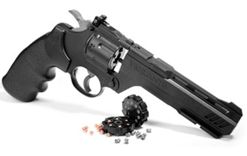 "CROSMAN Vigilante ( 3576W ) CO2 powered revolver, 6"" barrel, fires .177 calibre pellets & .177 steel BB (10 shot pellet - 6 shot BB)"